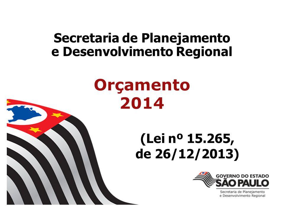 Secretaria de Planejamento e Desenvolvimento Regional Orçamento 2014 (Lei nº 15.265, de 26/12/2013)