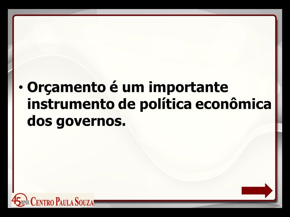 Orçamento é um importante instrumento de política econômica dos governos.