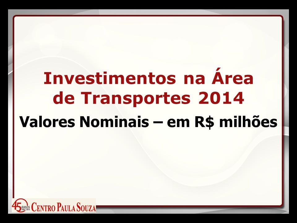 Investimentos na Área de Transportes 2014 Valores Nominais – em R$ milhões