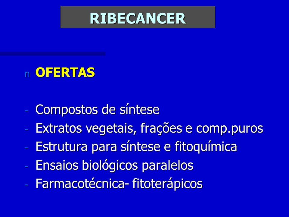 RIBECANCER n OFERTAS - Compostos de síntese - Extratos vegetais, frações e comp.puros - Estrutura para síntese e fitoquímica - Ensaios biológicos paralelos - Farmacotécnica- fitoterápicos