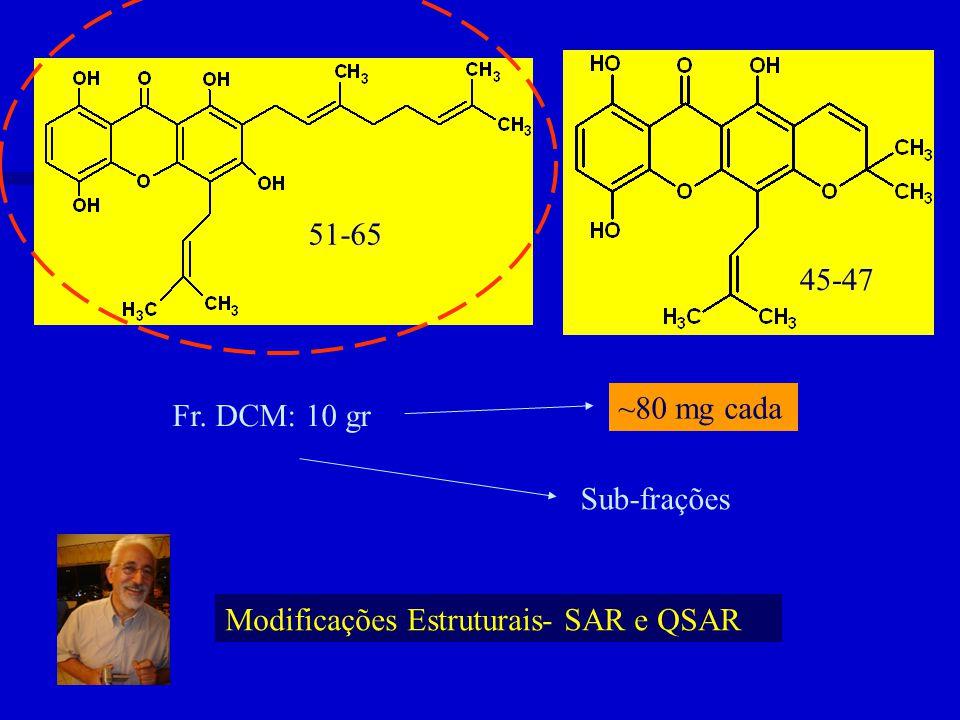 51-65 45-47 Fr. DCM: 10 gr ~80 mg cada Sub-frações Modificações Estruturais- SAR e QSAR