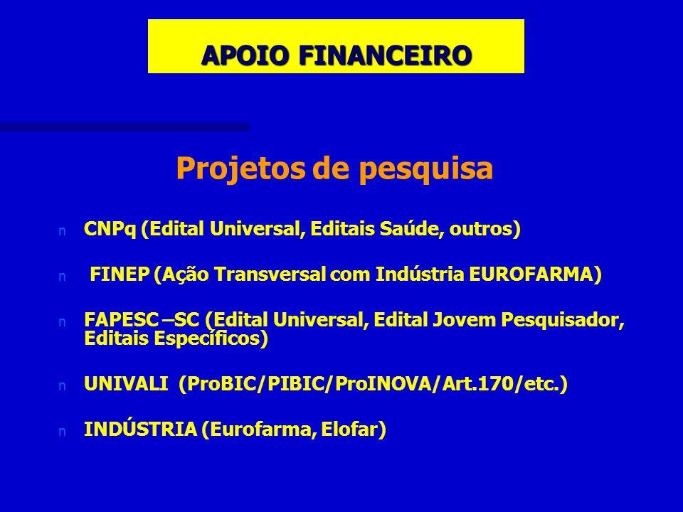 APOIO FINANCEIRO Projetos de pesquisa n n CNPq (Edital Universal, Editais Saúde, outros) n n FINEP (Ação Transversal com Indústria EUROFARMA) n n FAPESC –SC (Edital Universal, Edital Jovem Pesquisador, Editais Específicos) n n UNIVALI (ProBIC/PIBIC/ProINOVA/Art.170/etc.) n n INDÚSTRIA (Eurofarma, Elofar)