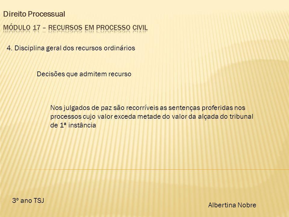 Direito Processual 3º ano TSJ Albertina Nobre 4. Disciplina geral dos recursos ordinários Decisões que admitem recurso Nos julgados de paz são recorrí