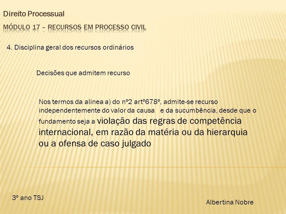 Direito Processual 3º ano TSJ Albertina Nobre 4. Disciplina geral dos recursos ordinários Decisões que admitem recurso Nos termos da alinea a) do nº2