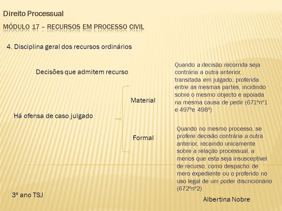 Direito Processual 3º ano TSJ Albertina Nobre 4. Disciplina geral dos recursos ordinários Decisões que admitem recurso Há ofensa de caso julgado Mater