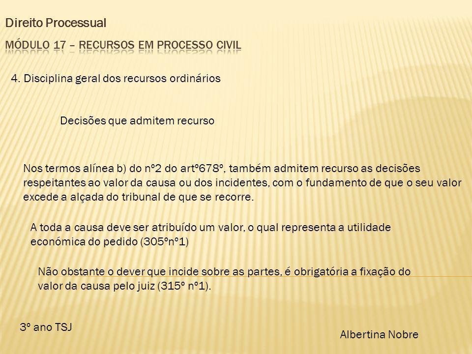 Direito Processual 3º ano TSJ Albertina Nobre 4. Disciplina geral dos recursos ordinários Decisões que admitem recurso Nos termos alínea b) do nº2 do