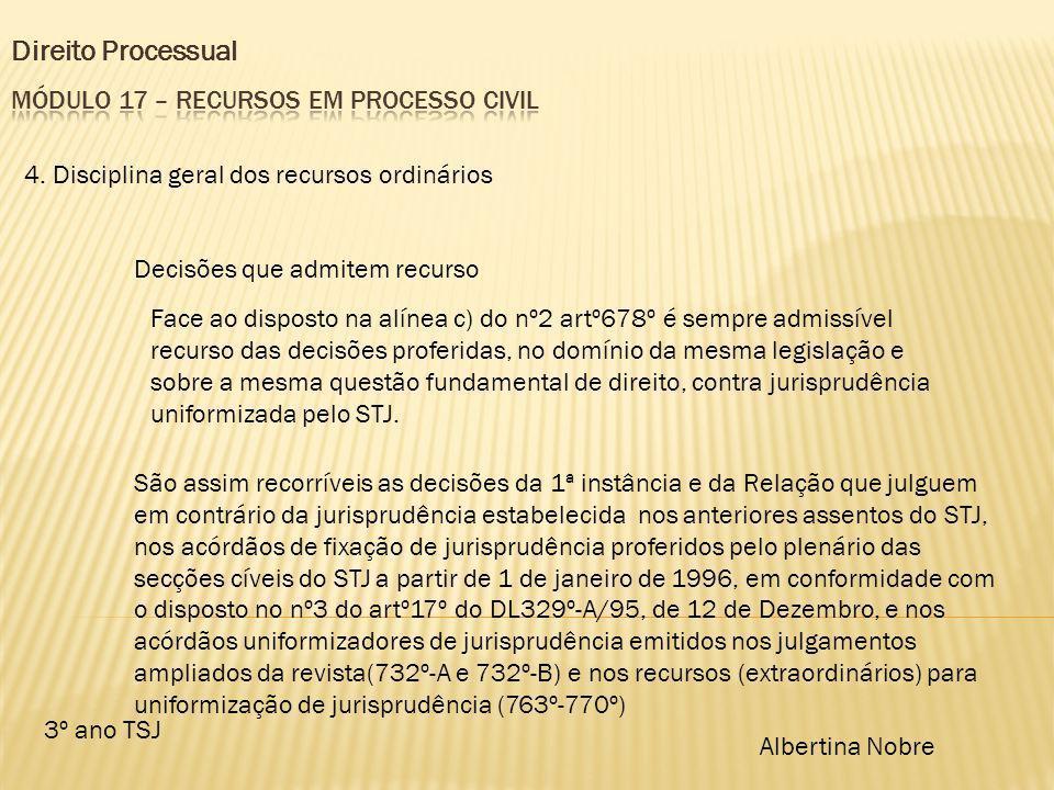 Direito Processual 3º ano TSJ Albertina Nobre 4. Disciplina geral dos recursos ordinários Decisões que admitem recurso Face ao disposto na alínea c) d