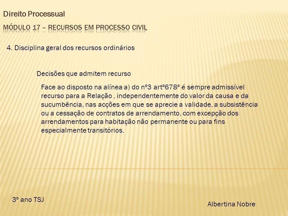 Direito Processual 3º ano TSJ Albertina Nobre 4. Disciplina geral dos recursos ordinários Decisões que admitem recurso Face ao disposto na alínea a) d