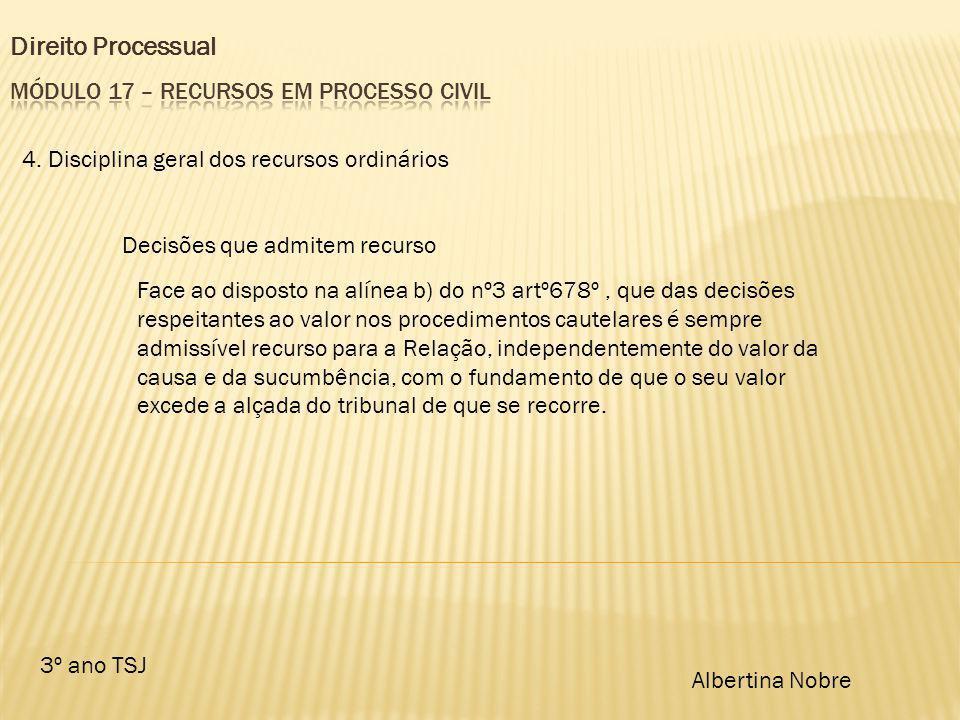 Direito Processual 3º ano TSJ Albertina Nobre 4. Disciplina geral dos recursos ordinários Decisões que admitem recurso Face ao disposto na alínea b) d