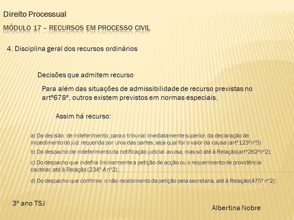Direito Processual 3º ano TSJ Albertina Nobre 4. Disciplina geral dos recursos ordinários Decisões que admitem recurso Para além das situações de admi