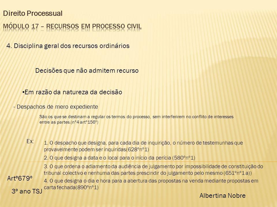 Direito Processual 3º ano TSJ Albertina Nobre 4. Disciplina geral dos recursos ordinários Decisões que não admitem recurso Em razão da natureza da dec