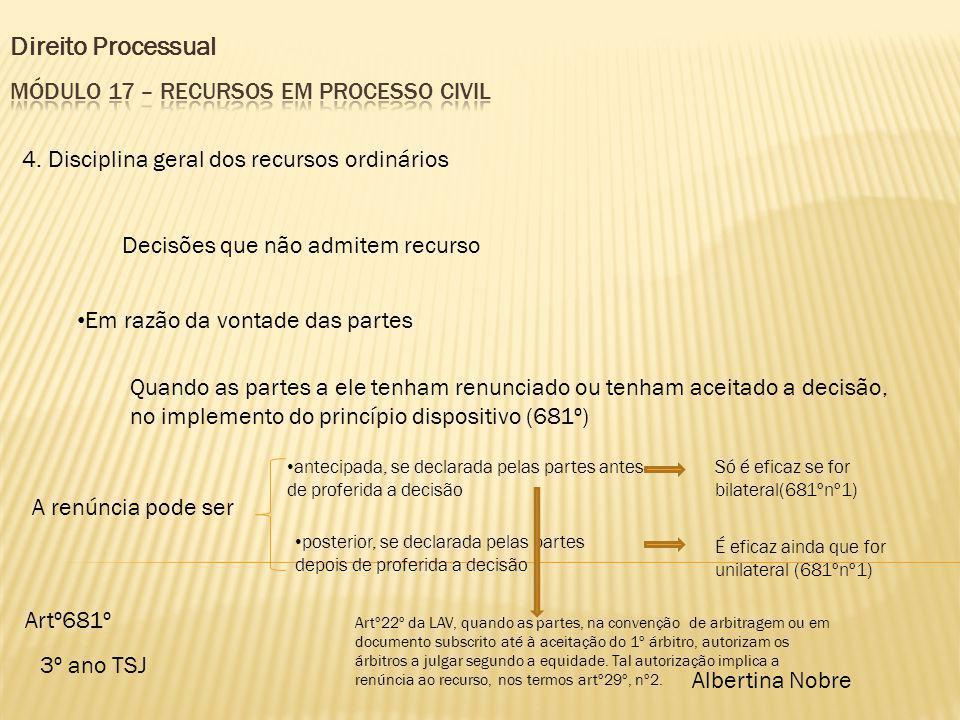 Direito Processual 3º ano TSJ Albertina Nobre 4. Disciplina geral dos recursos ordinários Decisões que não admitem recurso Em razão da vontade das par