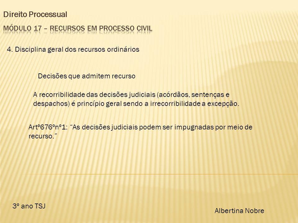 Direito Processual 3º ano TSJ Albertina Nobre 4. Disciplina geral dos recursos ordinários Decisões que admitem recurso A recorribilidade das decisões
