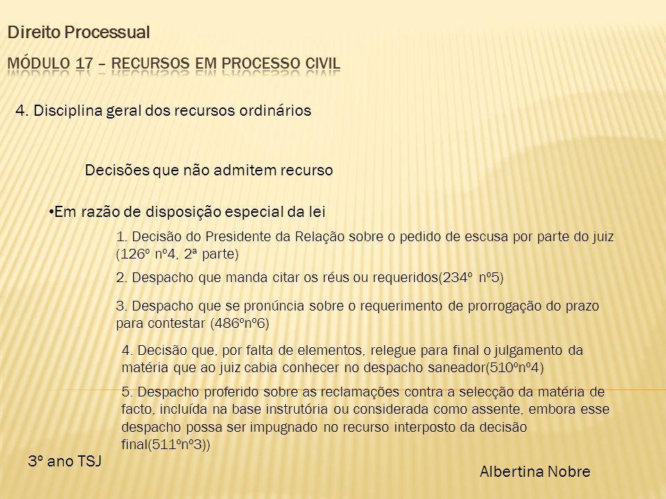 Direito Processual 3º ano TSJ Albertina Nobre 4. Disciplina geral dos recursos ordinários Decisões que não admitem recurso Em razão de disposição espe