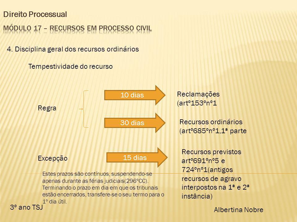 Direito Processual 3º ano TSJ Albertina Nobre 4. Disciplina geral dos recursos ordinários Tempestividade do recurso Regra 10 dias Reclamações (artº153