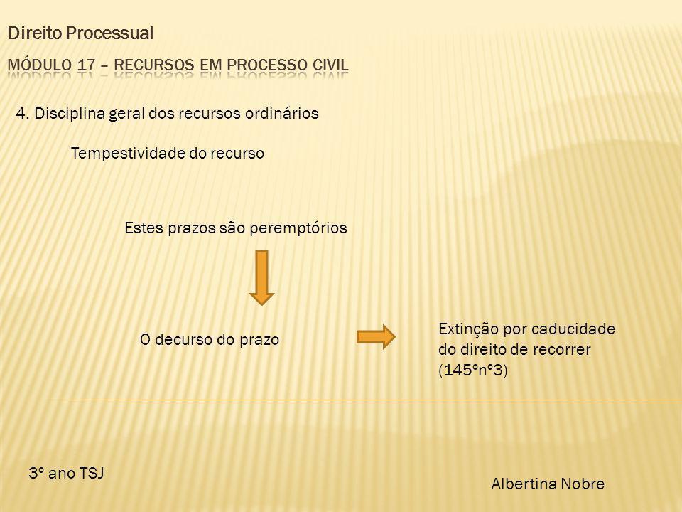 Direito Processual 3º ano TSJ Albertina Nobre 4. Disciplina geral dos recursos ordinários Tempestividade do recurso Estes prazos são peremptórios O de