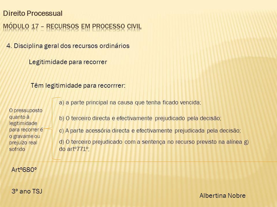 Direito Processual 3º ano TSJ Albertina Nobre 4. Disciplina geral dos recursos ordinários Legitimidade para recorrer Têm legitimidade para recorrrer: