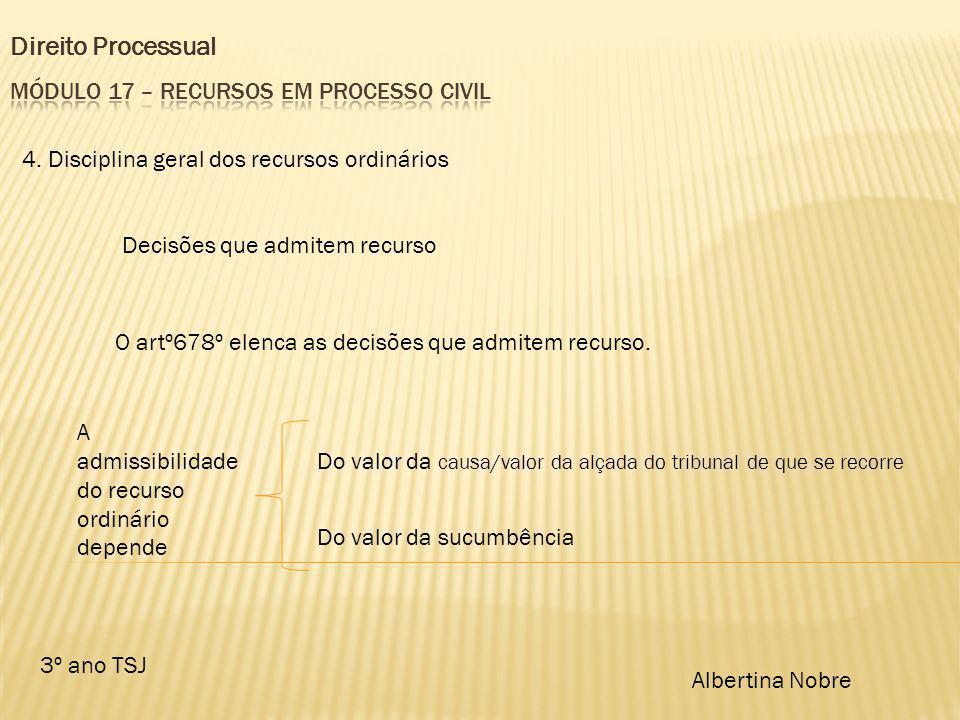 Direito Processual 3º ano TSJ Albertina Nobre 4. Disciplina geral dos recursos ordinários Decisões que admitem recurso O artº678º elenca as decisões q