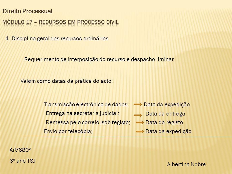 Direito Processual 3º ano TSJ Albertina Nobre 4. Disciplina geral dos recursos ordinários Requerimento de interposição do recurso e despacho liminar A