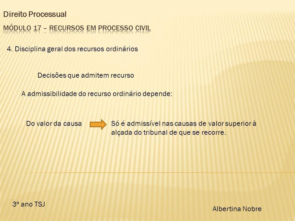 Direito Processual 3º ano TSJ Albertina Nobre 4. Disciplina geral dos recursos ordinários Decisões que admitem recurso A admissibilidade do recurso or