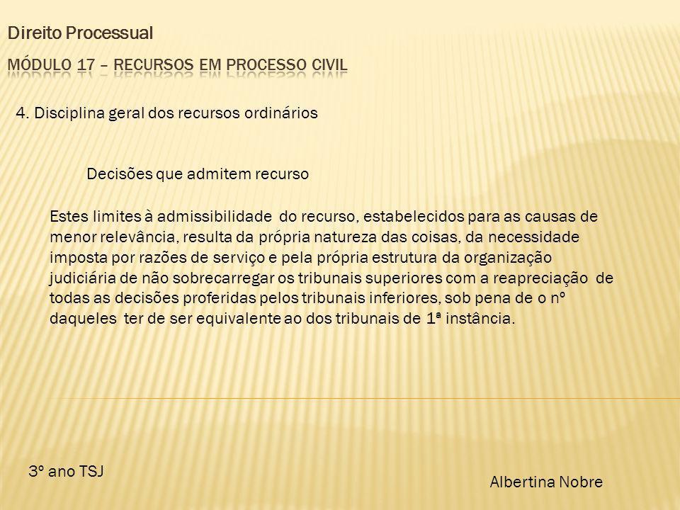 Direito Processual 3º ano TSJ Albertina Nobre 4. Disciplina geral dos recursos ordinários Decisões que admitem recurso Estes limites à admissibilidade
