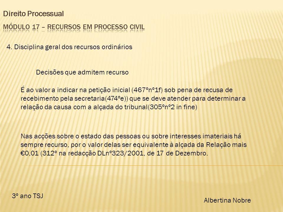 Direito Processual 3º ano TSJ Albertina Nobre 4. Disciplina geral dos recursos ordinários Decisões que admitem recurso É ao valor a indicar na petição