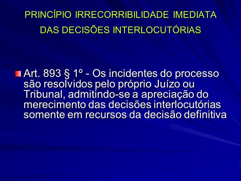 PRINCÍPIO IRRECORRIBILIDADE IMEDIATA DAS DECISÕES INTERLOCUTÓRIAS Art.