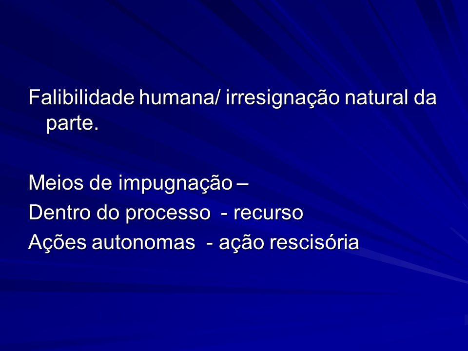 Falibilidade humana/ irresignação natural da parte.