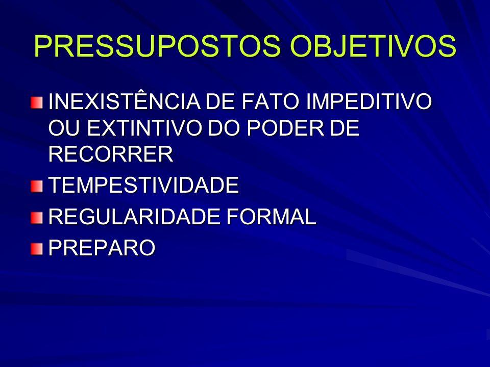 PRESSUPOSTOS OBJETIVOS INEXISTÊNCIA DE FATO IMPEDITIVO OU EXTINTIVO DO PODER DE RECORRER TEMPESTIVIDADE REGULARIDADE FORMAL PREPARO