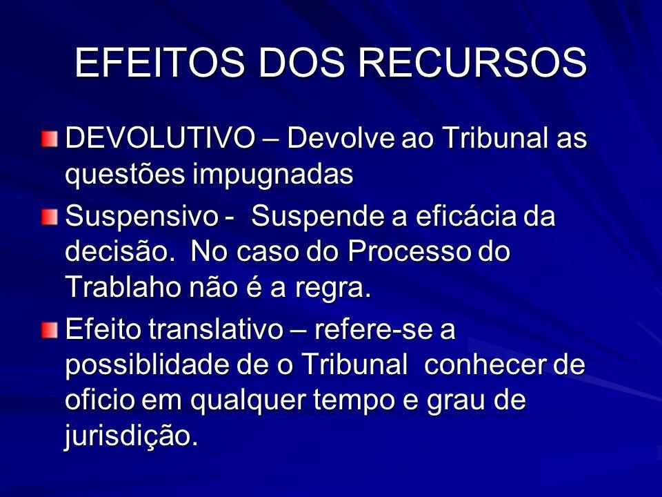EFEITOS DOS RECURSOS DEVOLUTIVO – Devolve ao Tribunal as questões impugnadas Suspensivo - Suspende a eficácia da decisão.