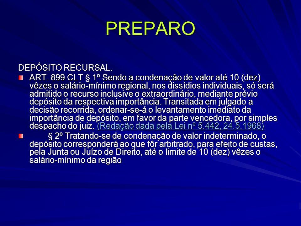 PREPARO DEPÓSITO RECURSAL.ART.