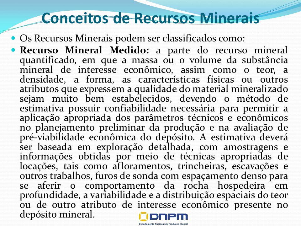 Conceitos de Recursos Minerais Os Recursos Minerais podem ser classificados como: Recurso Mineral Medido: a parte do recurso mineral quantificado, em que a massa ou o volume da substância mineral de interesse econômico, assim como o teor, a densidade, a forma, as características físicas ou outros atributos que expressem a qualidade do material mineralizado sejam muito bem estabelecidos, devendo o método de estimativa possuir confiabilidade necessária para permitir a aplicação apropriada dos parâmetros técnicos e econômicos no planejamento preliminar da produção e na avaliação de pré-viabilidade econômica do depósito.
