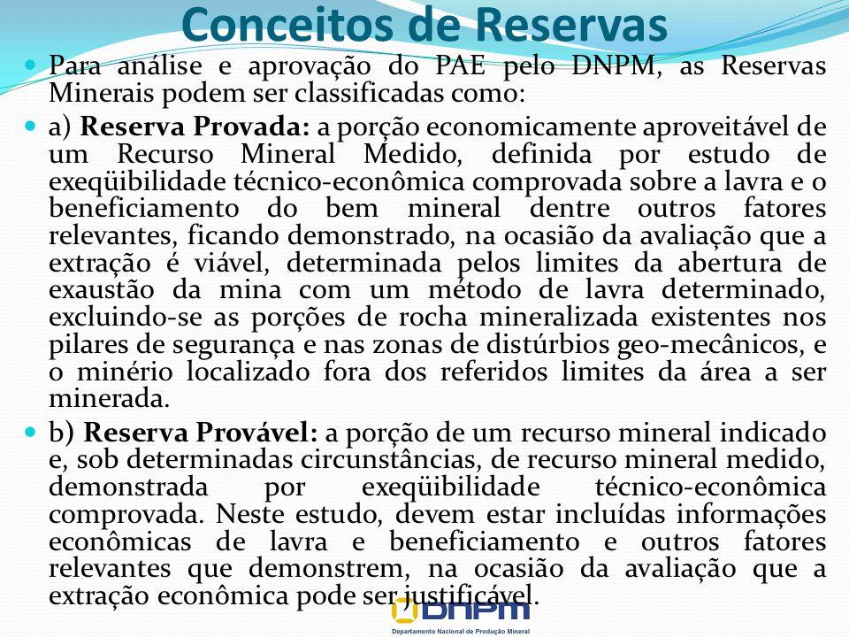 Para análise e aprovação do PAE pelo DNPM, as Reservas Minerais podem ser classificadas como: a) Reserva Provada: a porção economicamente aproveitável