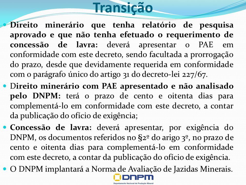 Transição Direito minerário que tenha relatório de pesquisa aprovado e que não tenha efetuado o requerimento de concessão de lavra: deverá apresentar