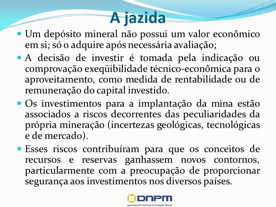 A jazida Um depósito mineral não possui um valor econômico em si; só o adquire após necessária avaliação; A decisão de investir é tomada pela indicação ou comprovação exeqüibilidade técnico-econômica para o aproveitamento, como medida de rentabilidade ou de remuneração do capital investido.