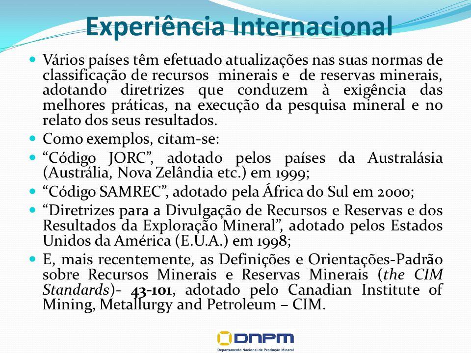 Experiência Internacional Vários países têm efetuado atualizações nas suas normas de classificação de recursos minerais e de reservas minerais, adotando diretrizes que conduzem à exigência das melhores práticas, na execução da pesquisa mineral e no relato dos seus resultados.