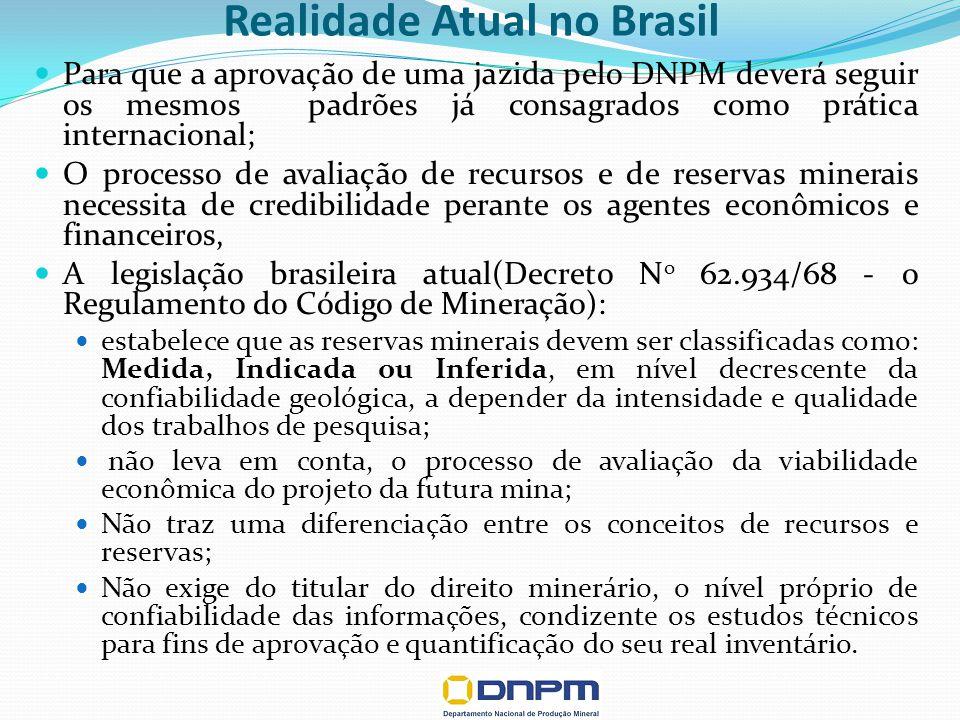 Realidade Atual no Brasil Para que a aprovação de uma jazida pelo DNPM deverá seguir os mesmos padrões já consagrados como prática internacional; O processo de avaliação de recursos e de reservas minerais necessita de credibilidade perante os agentes econômicos e financeiros, A legislação brasileira atual(Decreto N o 62.934/68 - o Regulamento do Código de Mineração): estabelece que as reservas minerais devem ser classificadas como: Medida, Indicada ou Inferida, em nível decrescente da confiabilidade geológica, a depender da intensidade e qualidade dos trabalhos de pesquisa; não leva em conta, o processo de avaliação da viabilidade econômica do projeto da futura mina; Não traz uma diferenciação entre os conceitos de recursos e reservas; Não exige do titular do direito minerário, o nível próprio de confiabilidade das informações, condizente os estudos técnicos para fins de aprovação e quantificação do seu real inventário.