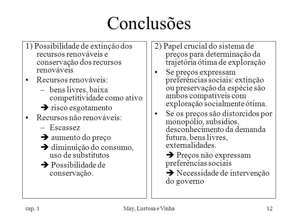 cap. 1May, Lustosa e Vinha12 Conclusões 1) Possibilidade de extinção dos recursos renováveis e conservação dos recursos renováveis Recursos renováveis