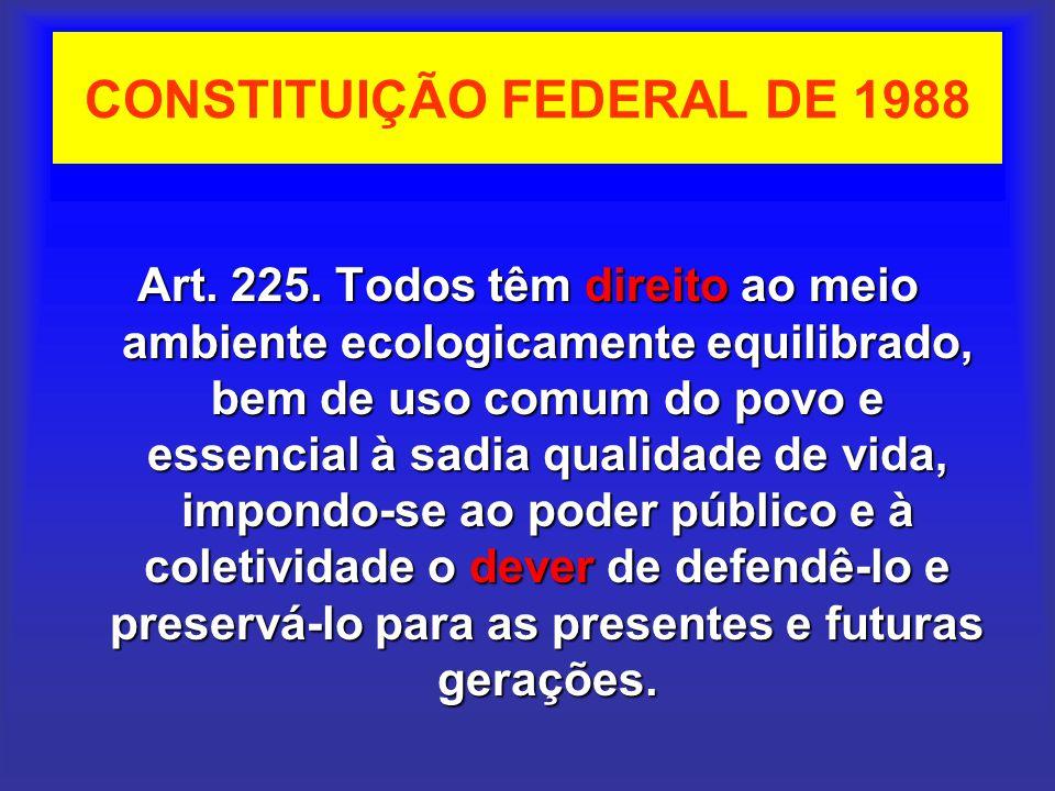 CONSTITUIÇÃO FEDERAL DE 1988 Art. 225. Todos têm direito ao meio ambiente ecologicamente equilibrado, bem de uso comum do povo e essencial à sadia qua