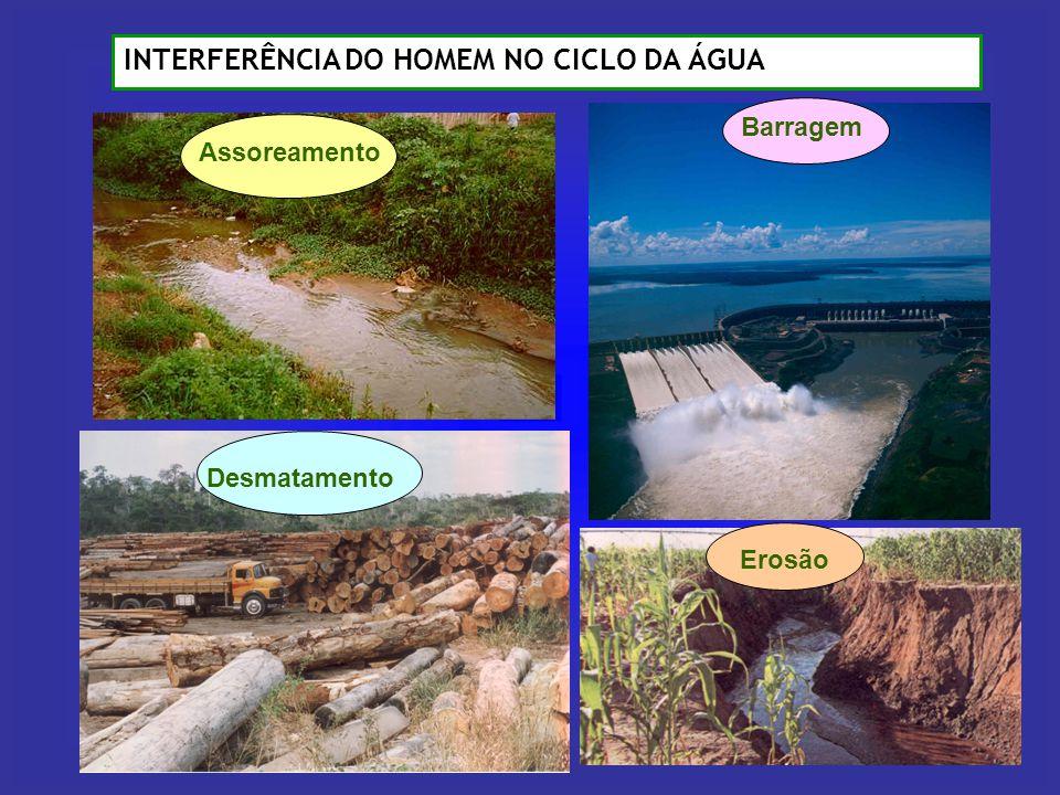INTERFERÊNCIA DO HOMEM NO CICLO DA ÁGUA Assoreamento Desmatamento Barragem Erosão