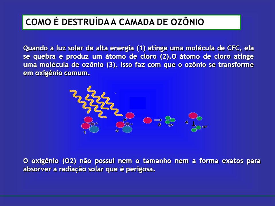 Quando a luz solar de alta energia (1) atinge uma molécula de CFC, ela se quebra e produz um átomo de cloro (2).O átomo de cloro atinge uma molécula d