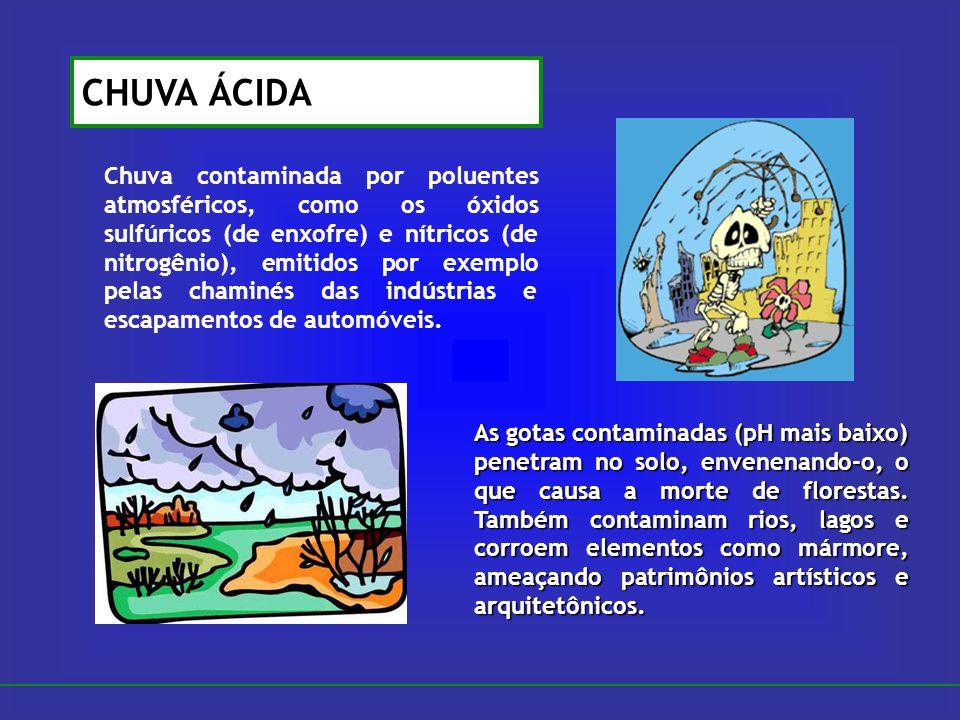 CHUVA ÁCIDA Chuva contaminada por poluentes atmosféricos, como os óxidos sulfúricos (de enxofre) e nítricos (de nitrogênio), emitidos por exemplo pela