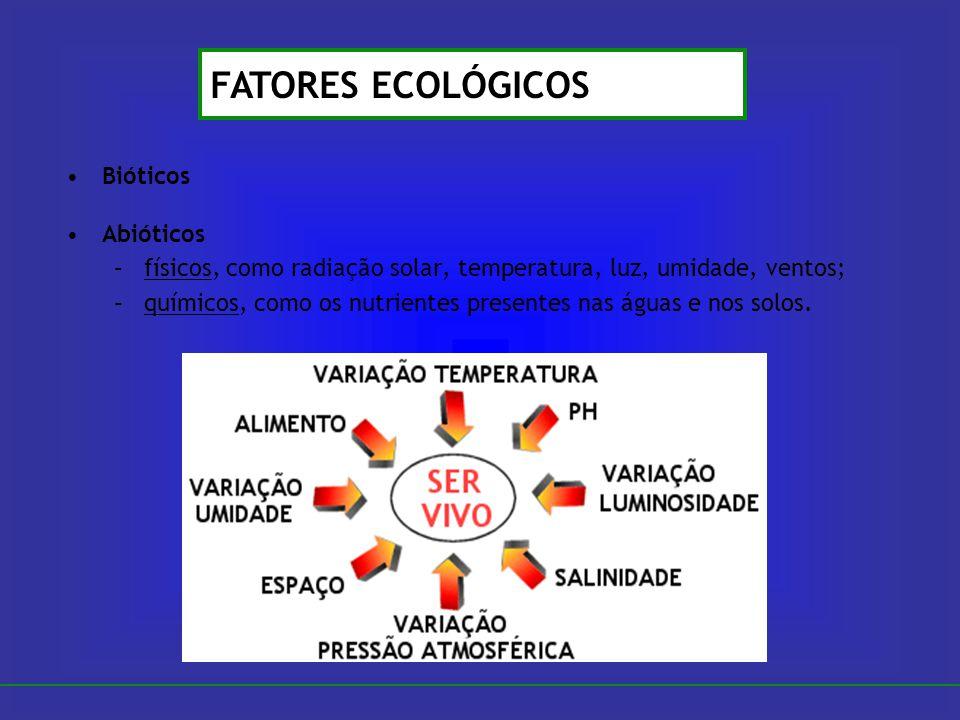 Bióticos Abióticos –físicos, como radiação solar, temperatura, luz, umidade, ventos; –químicos, como os nutrientes presentes nas águas e nos solos. FA