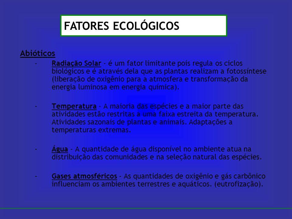 Abióticos -Radiação Solar - é um fator limitante pois regula os ciclos biológicos e é através dela que as plantas realizam a fotossíntese (liberação d