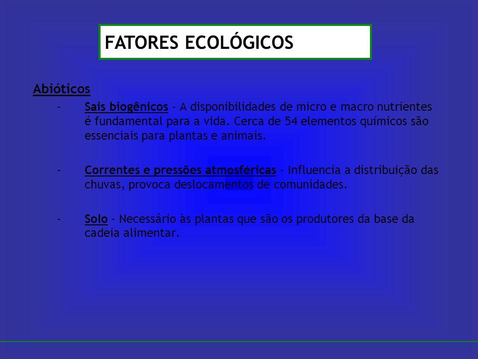 Abióticos -Sais biogênicos - A disponibilidades de micro e macro nutrientes é fundamental para a vida. Cerca de 54 elementos químicos são essenciais p