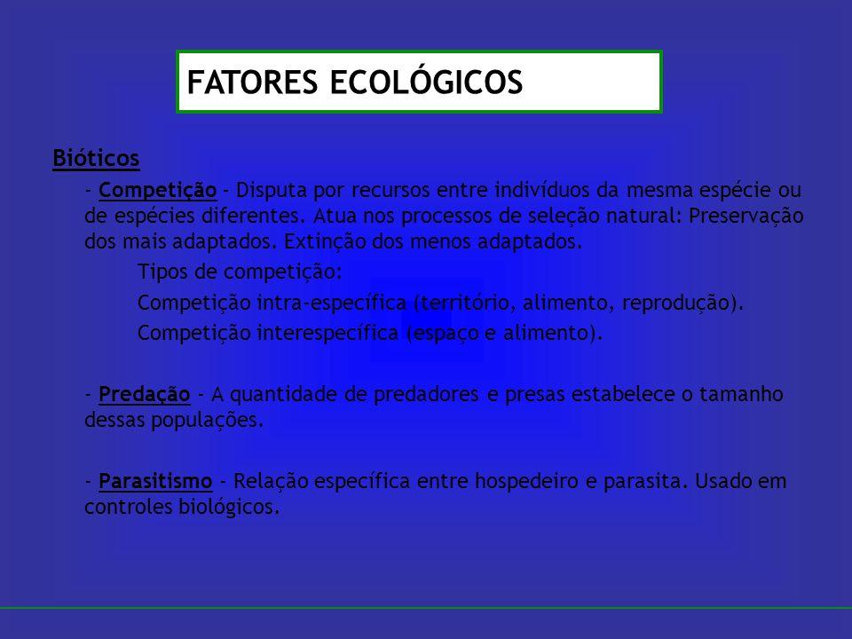 Bióticos - Competição - Disputa por recursos entre indivíduos da mesma espécie ou de espécies diferentes. Atua nos processos de seleção natural: Prese