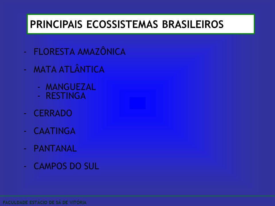 -FLORESTA AMAZÔNICA -MATA ATLÂNTICA -MANGUEZAL -RESTINGA -CERRADO -CAATINGA -PANTANAL -CAMPOS DO SUL PRINCIPAIS ECOSSISTEMAS BRASILEIROS FACULDADE EST