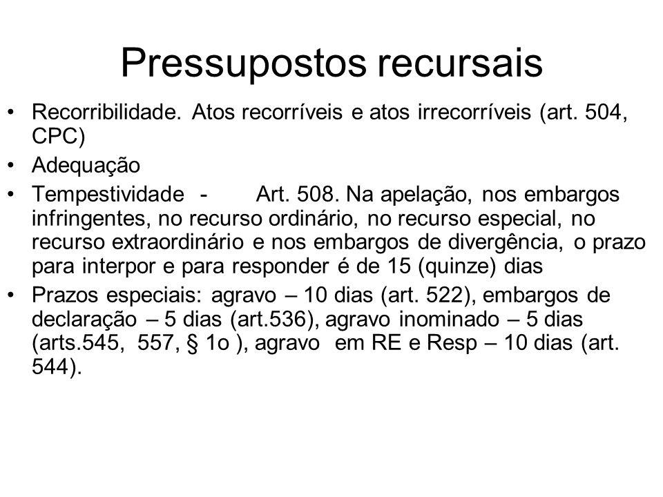 Pressupostos recursais Recorribilidade. Atos recorríveis e atos irrecorríveis (art. 504, CPC) Adequação Tempestividade - Art. 508. Na apelação, nos em