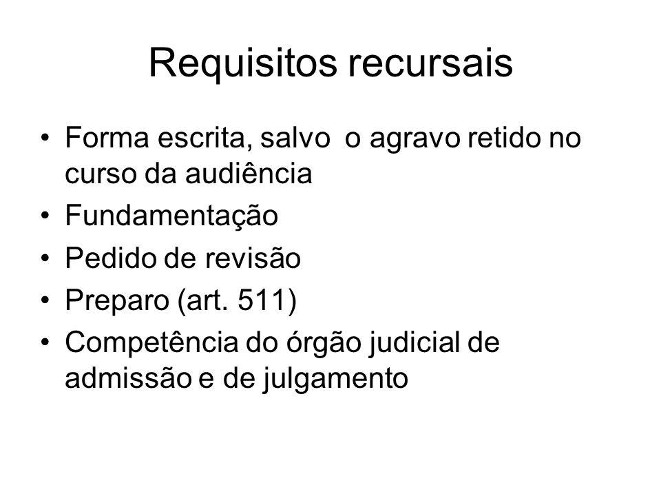 Requisitos recursais Forma escrita, salvo o agravo retido no curso da audiência Fundamentação Pedido de revisão Preparo (art. 511) Competência do órgã