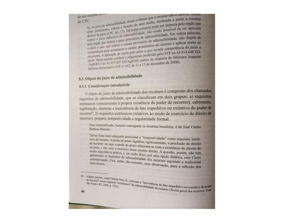 Condições de admissibilidade Legitimidade recursal: Art.